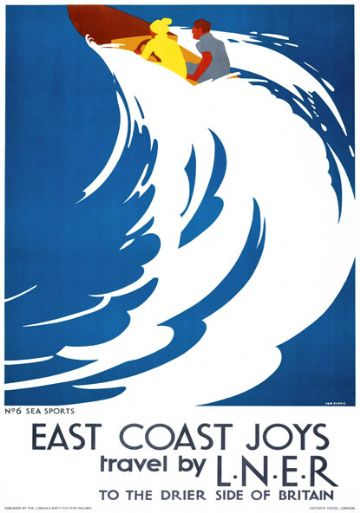 East Coast Joys No 6 - Sea Sports. LNER Vintage Travel Poster by Tom Purvis. 1931